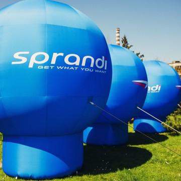 Balony reklamowe (model Gamma) z brandingiem Sprandi.