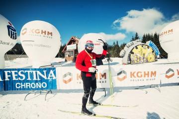Balony reklamowe Beta i Alfa podczas zimowego biegu w Jakuszycach.